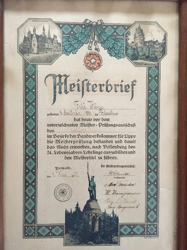 1925 - Meisterbrief Fritz König