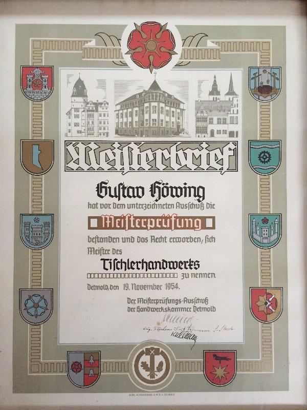 1954 - Meisterbrief Gustav Höwing