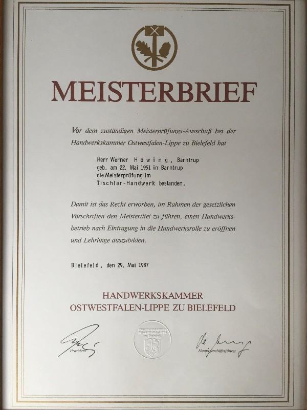 1987 - Meisterbrief Werner Höwing