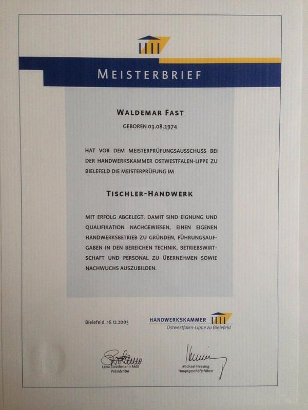 2003 - Meisterbrief Waldemar Fast
